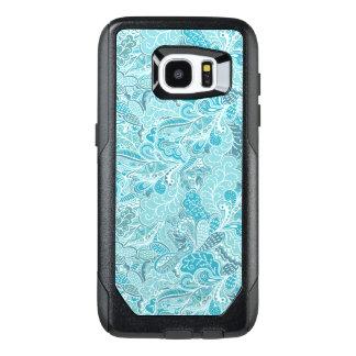 Modelo elegante blanco azul de Paisley del trullo Funda OtterBox Para Samsung Galaxy S7 Edge