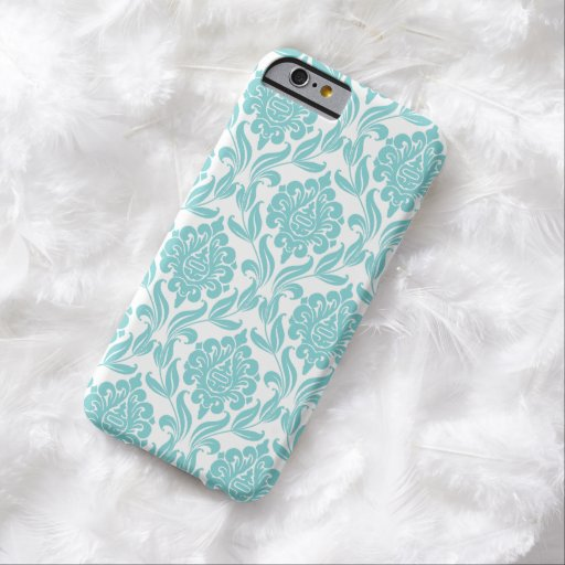 Modelo elegante del damasco de la aguamarina funda barely there iPhone 6