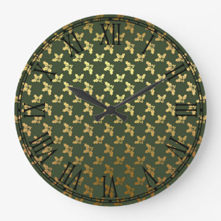 Modelo elegante del oro del acebo del navidad reloj redondo grande