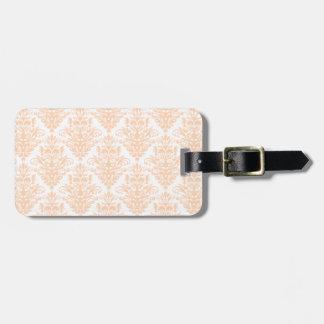 Modelo elegante rosado y blanco coralino pálido etiqueta para maletas