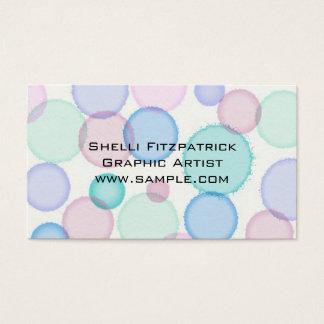 Modelo en colores pastel de las burbujas de la tarjeta de visita