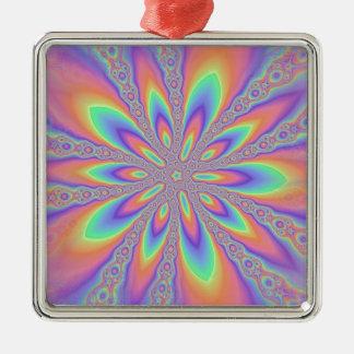Modelo en colores pastel de las cadenas adorno navideño cuadrado de metal