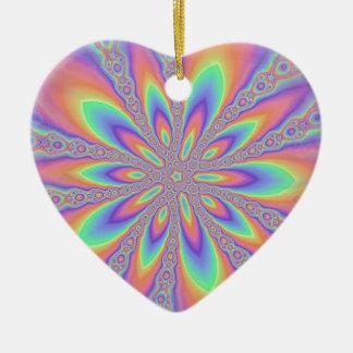 Modelo en colores pastel de las cadenas adorno navideño de cerámica en forma de corazón