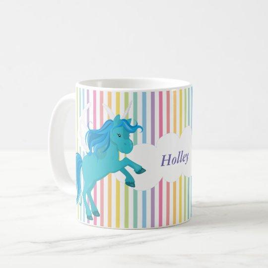 Modelo en colores pastel personalizado de la raya taza de café