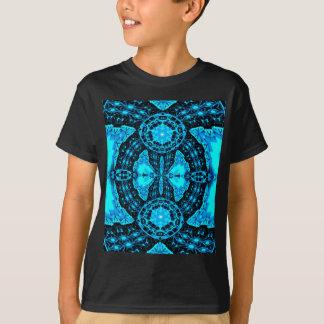 Modelo enrrollado azul de neón moderno camiseta