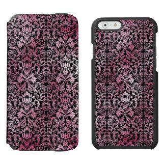 Modelo envejecido damasco floral rosado de la funda cartera para iPhone 6 watson