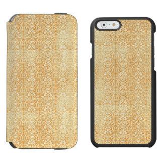 Modelo envejecido del damasco del oro amarillo funda cartera para iPhone 6 watson