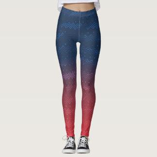 Modelo erosionado en las polainas vibrantes de la leggings