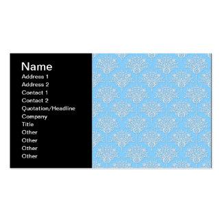Modelo floral azul claro y blanco del damasco tarjetas de visita