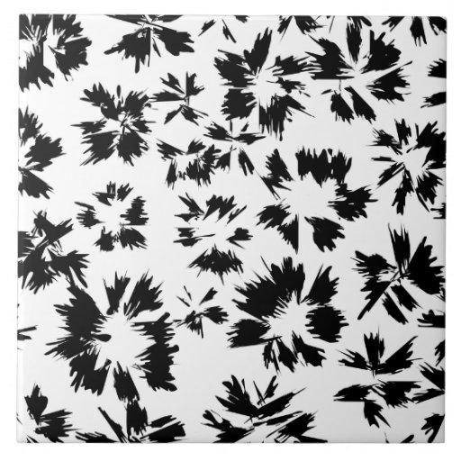 Modelo floral blanco y negro elegante azulejo zazzle for Azulejo a cuadros blanco y negro barato