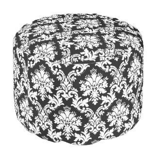 Modelo floral blanco y negro elegante del damasco puf