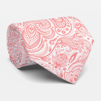 Modelo floral blanco y rojo coral de Paisley Corbata Personalizada