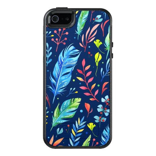 Modelo floral de la pluma de Boho del Azul-Naranja Funda Otterbox Para iPhone 5/5s/SE