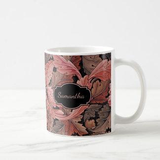 Modelo floral del Acanthus del vintage con el Taza De Café