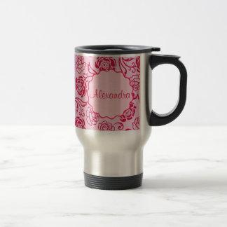 Modelo floral del enrejado de los rosas de té en taza de viaje