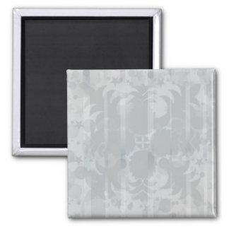 Modelo floral del gris de plata del vintage imán