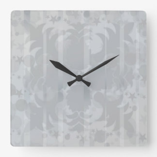 Modelo floral del gris de plata del vintage reloj cuadrado