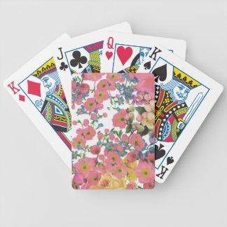 modelo floral del tema de las flores elegantes del baraja de cartas bicycle