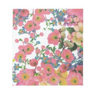 modelo floral del tema de las flores elegantes del bloc de notas