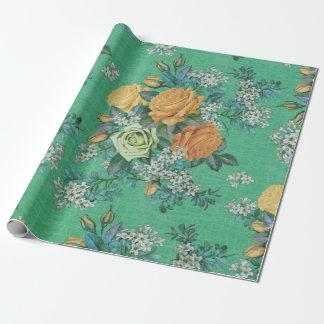 modelo floral del tema de las flores elegantes del papel de regalo