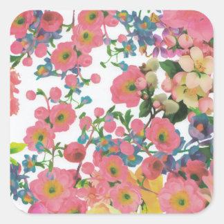 modelo floral del tema de las flores elegantes del pegatina cuadrada