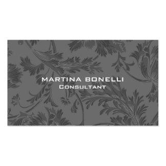 Modelo floral gris del damasco único tarjetas de visita