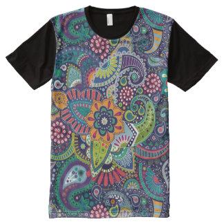 Modelo floral multicolor de neón de Paisley Camiseta Con Estampado Integral