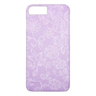 Modelo floral púrpura de la tela de la lavanda funda iPhone 7 plus