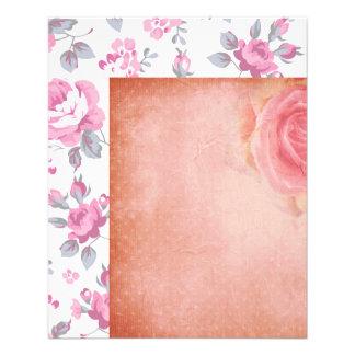 modelo floral, rosado elegante lamentable, rosas folleto 11,4 x 14,2 cm