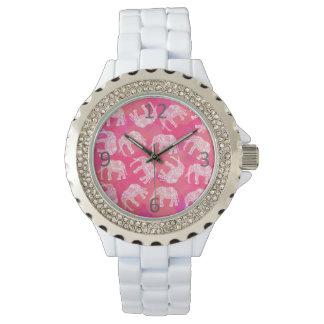 modelo floral tribal colorido rosado femenino del reloj de pulsera