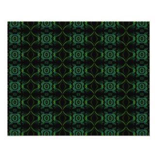 Modelo floral verde y negro folleto 11,4 x 14,2 cm