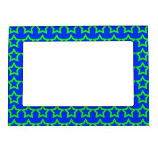 Modelo Fondo azul con las estrellas verdes Marcos Magneticos Para Fotos