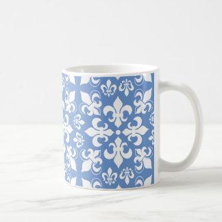 Modelo francés heráldico azul y blanco de la flor taza