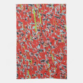 Modelo geométrico abstracto rojo de la tormenta de toalla de cocina