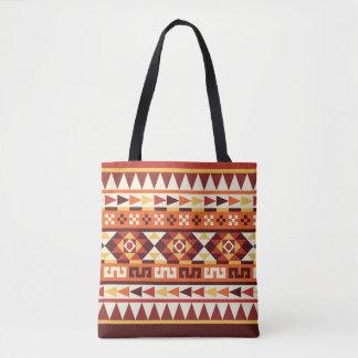 Modelo geométrico azteca de los colores otoñales bolsa de tela