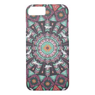 Modelo geométrico azteca redondo ornamental funda iPhone 7