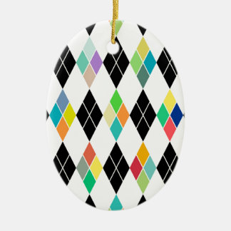 Modelo geométrico colorido adorno navideño ovalado de cerámica