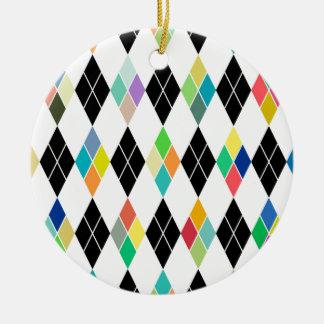 Modelo geométrico colorido adorno navideño redondo de cerámica