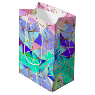 Modelo geométrico del arco iris bolsa de regalo mediana