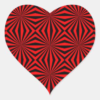 Modelo geométrico del caleidoscopio abstracto rojo pegatina en forma de corazón