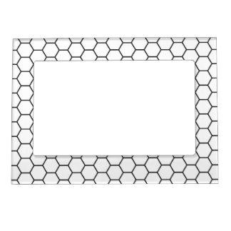 Modelo geométrico del hexágono blanco y negro marcos magnéticos para fotos