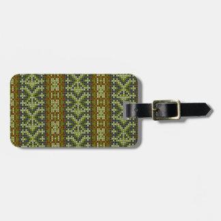 Modelo geométrico del verde del bordado de la teja etiqueta para maleta