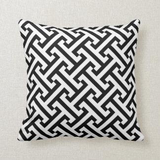 Modelo geométrico griego blanco y negro cojín decorativo