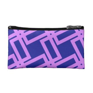 Modelo geométrico púrpura y azul de la lavanda estuche de maquillaje