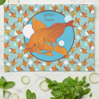 Modelo gráfico del Goldfish y de las burbujas Paño De Cocina