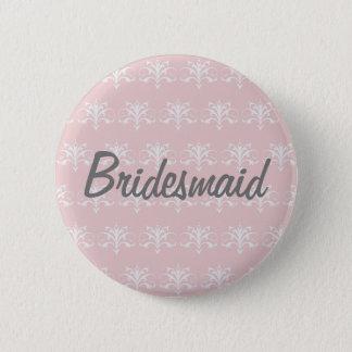 Modelo gris impreso botón rosado de la dama de