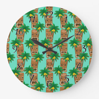 Modelo hawaiano de la repetición de Tiki Reloj Redondo Grande