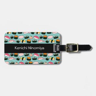 Modelo ilustrado diversión deliciosa del sushi etiqueta para maletas