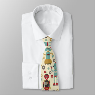 Modelo ilustrado robots retros de la diversión corbata