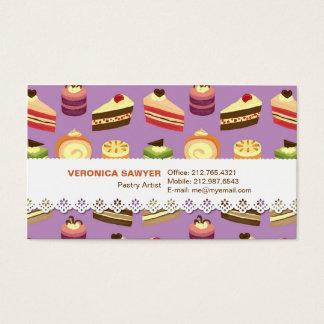 Modelo ilustrado tortas lindas del té y coloridas tarjeta de negocios